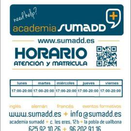 Horario academia sumadd en la Pobla de Vallbona